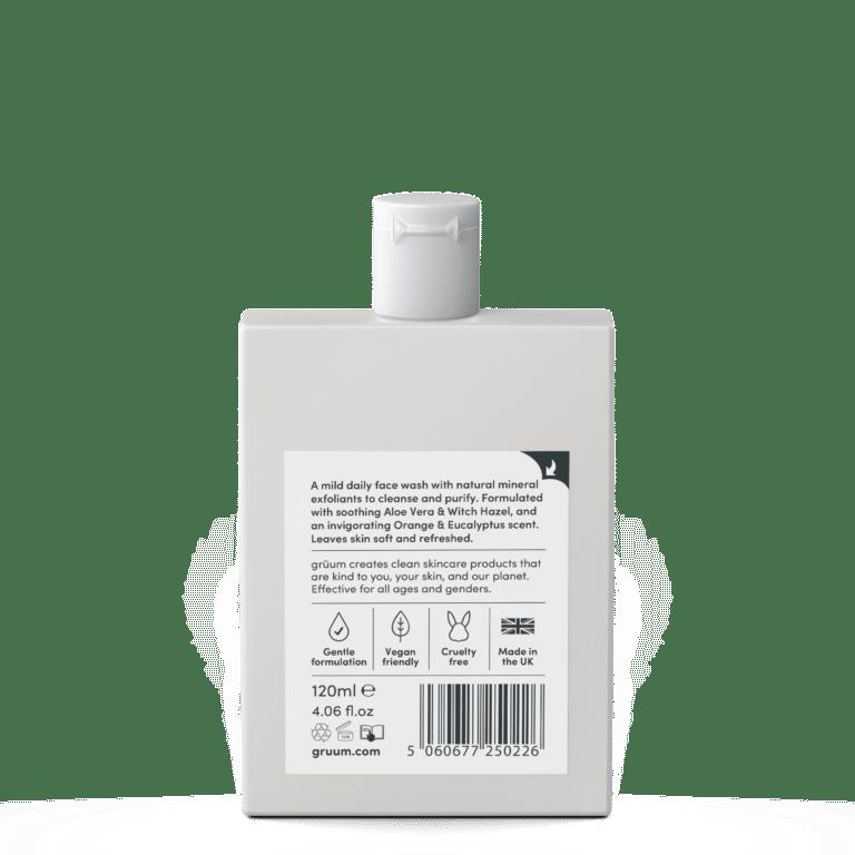 Back of bottle of kori exfoliating face wash