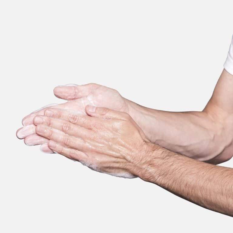 Hands rubbing kori face wash