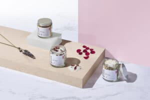 Gruum gift set product image with Tangerine & Cinnamon, Rose Petal & Rosemary and Lavender & Chamomile salt soaks
